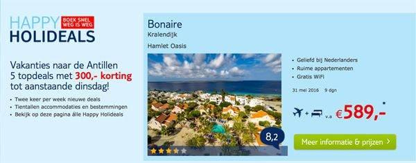 Superdeal: € 300,= korting Aruba,Bonaire, Curaçao vakantie